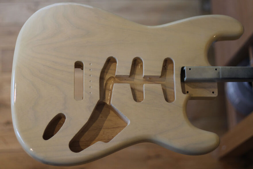 Stratocaster body with Clear Gloss lacquer applied